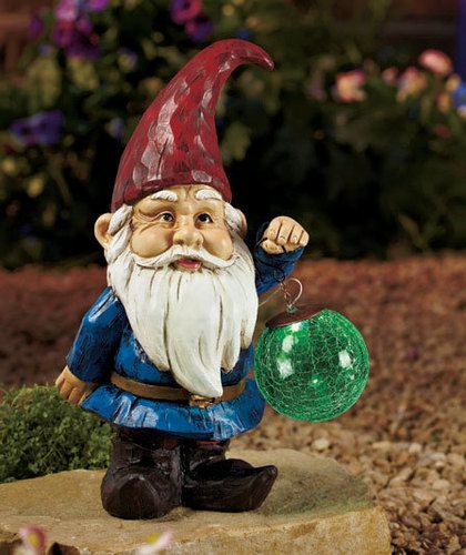 Solar Color Changing Ball Lucky Garden Gnome Yard Garden Decor Lucky Gnome  NEW