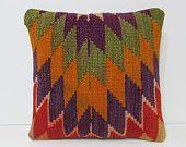 16x16 striped kilim pillow eclectic throw pillow mediterranean decorative pillow wool pillow cover moroccan cushion turkish rug pillow 28184
