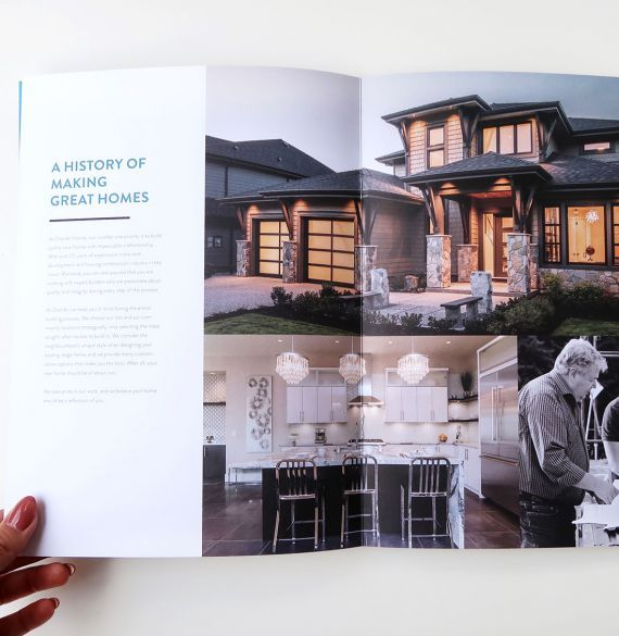 Distrikt Homes brochure design. #developer #homebuilder #distinktlydifferent #newhomeconstruction #showhomes #residential #realestate #LowerMainland #company Branding and web design by #Studiothink / Vancouver, BC #SurreyBC #branding #design #stationery #brochure #website #webdesign #creative #agency