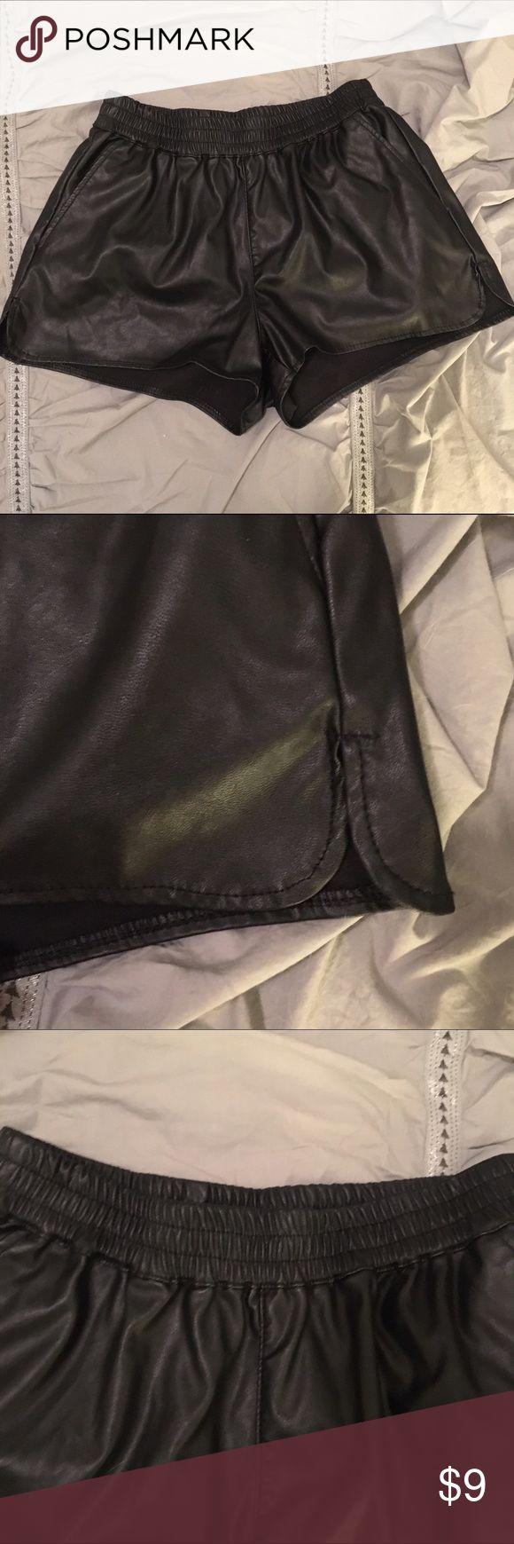 H&M black faux lthr shorts - Sz 2 Black mini shorts with dolphin hem.  Faux leather, elastic waistband.  H&M size 2 H&M Shorts