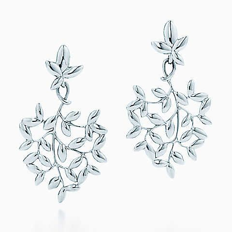 Paloma Picasso® Olive Leaf drop earrings in sterling silver, small.