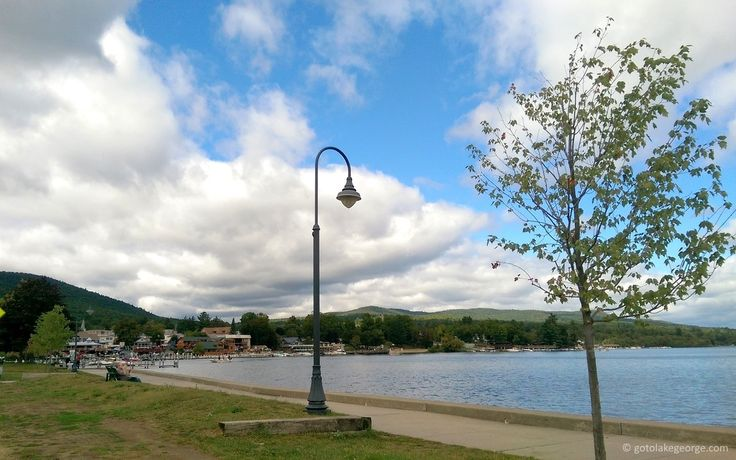 The Lake George Boardwalk on a cloudy day.