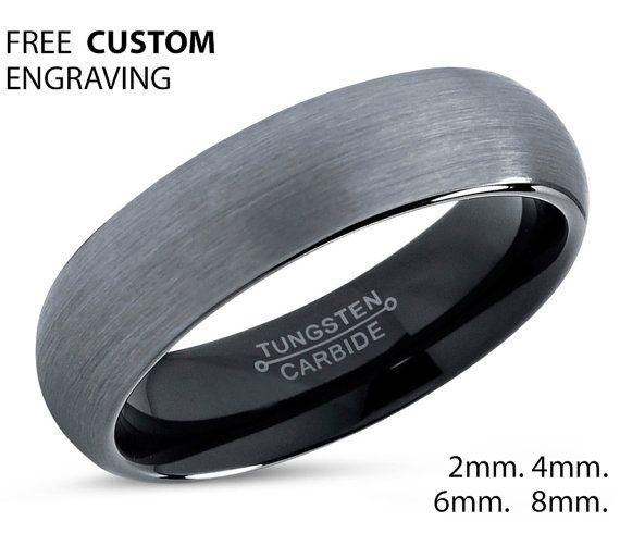Tungsteno anillo Mens cepillado plata negro por BellyssaJewelry