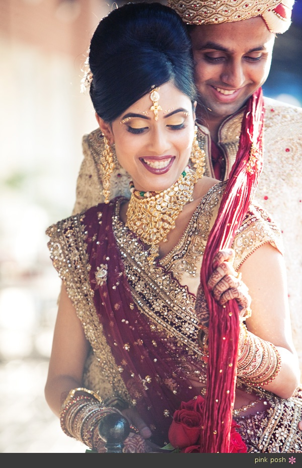 Hindu Wedding Bride and Groom Couple Portraits Outdoor http://pinkposhphotography.blogspot.com/2012/06/niti-and-ankit-married.html
