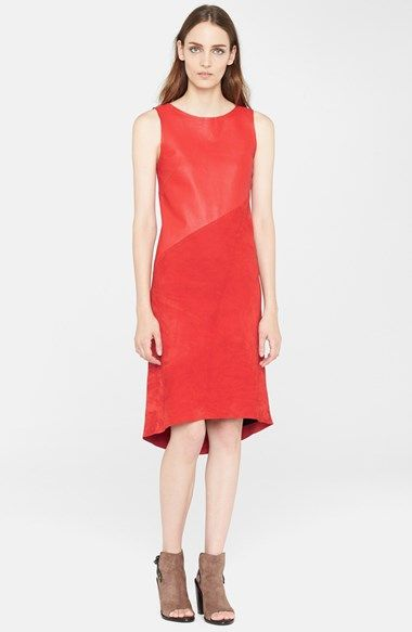 """rag & bone leather and suede dress in """"royal red""""- Leather and Suede are popular fabrics for the upcoming seasons. - Jacob Click"""
