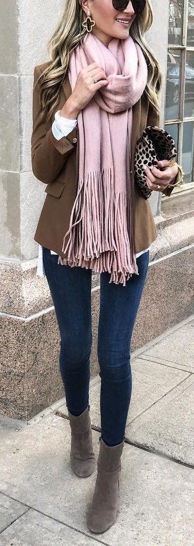 Camel Blazer + Pink Fringe Scarf + Navy Skinny Jeans