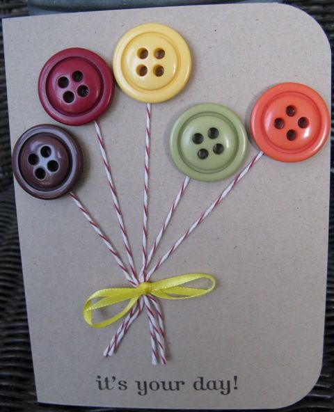 Button Balloons - Also use the Martha Stewart punch/embossed paper buttons so the card can go through the mail easily.