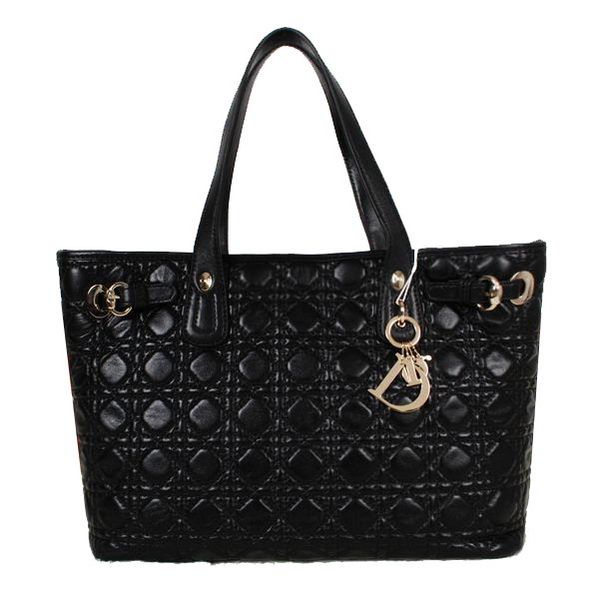 """Dior Soft Tote Bag in Sheepskin D9626 Black   - Lambskin Leather - Pale gold-tone Jewellery - Double leather handles - Snap closure - Interior Fabric lining - Inside zip pocket   Size: W35.5 x H27 x D15.5 cm (1"""" = 2.54CM)   Replica Dior Bag Come with serial numbers, Dior authenticity card, Dior dust bag and Dior care booklet."""