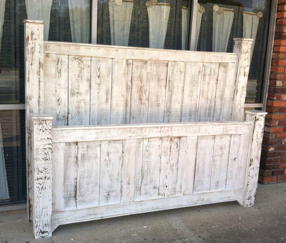 Reclaimed Wood King Size Four Poster Bed Painted