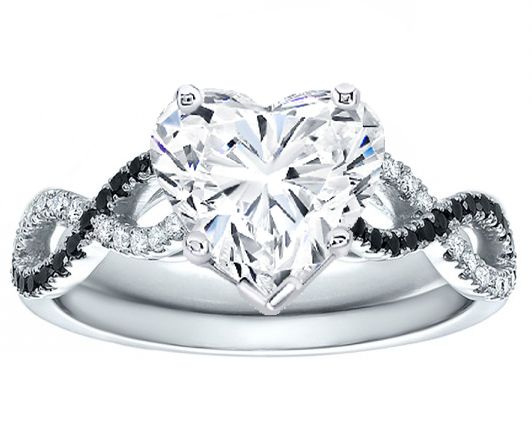 Black & White infinity Heart Diamond Engagement Ring