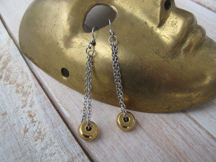 Lange Edelstahl Ohrringe in Silber und Gold von Lotka Art auf DaWanda.com