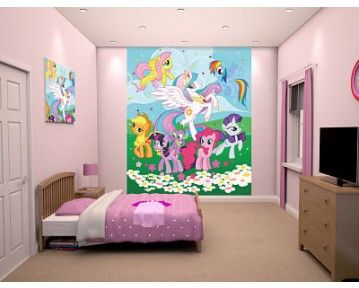 My little pony wall mural with all the bright and colourful ponies! Available now at www.middletonwood.co.uk