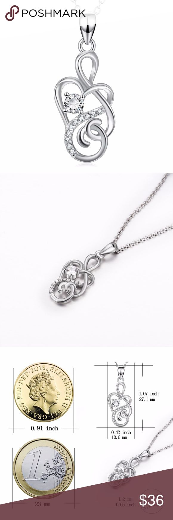 New infinity love pendant sterling silver. Gorgeous genuine sterling silver infinity pendant with cubic zirconia crystals. Beautiful 18 inch silver chain. This item is brand new & created by skilled jewelers.  Our items are made using quality materials. We only sell high grade  jewelry items. Please see our stunning photos.  We ship USPS  4 to 13 days delivery with TRACKING NUMBER. Ziggy Twig Jewelry Necklaces