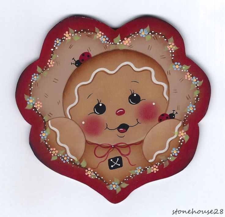 HP GINGERBREAD Scalloped Heart FRIDGE MAGNET