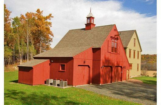 Red Barn With A Colonial Style House Dream Home Pinterest Car Barn Barn And Colonial