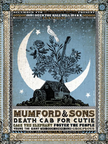Gig Poster :: Mumford & Sons, Death Cab for Cutie, Cage the Elephant, Foster the People, Young the Giant, Two Door Cinema Club, Grouplove... in one of the best places on Earth Seattle, WA... I want to be on the west coast... so bad.