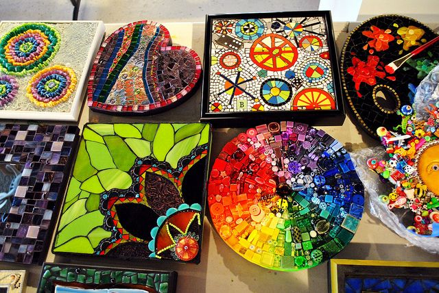 A few of the mosaics that will be part of the Mosaic Art Exhibit & Online Auction to benefit Doctors Without Borders.  This display can be seen at the Northville Art House in Northville Michigan.  This event has been curated by Lin Schorr.  For more information go to...  www.BiddingForGood.com/DWB-MSF