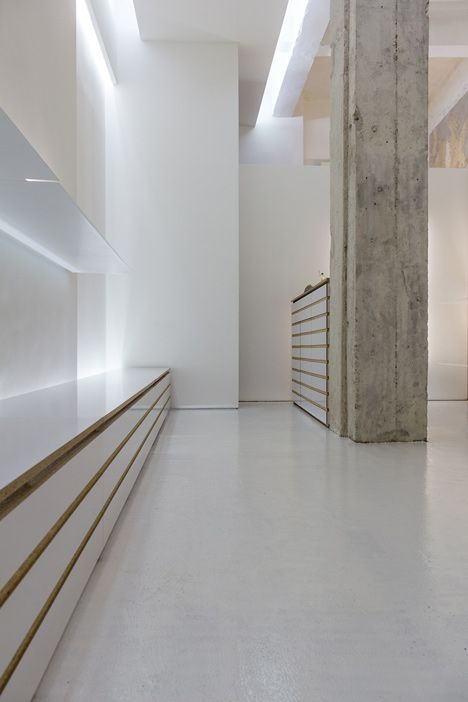 Lovely White Shelves Hang From Crumbly Concrete Walls In Bulgarian Shoe Shop By  Elia Nedkov Great Pictures