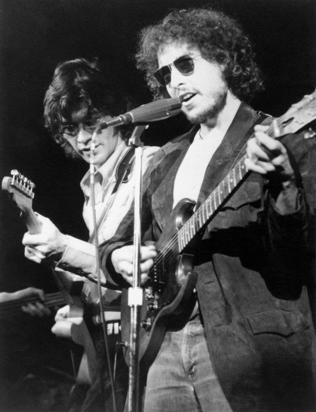 The Band's Robbie Robertson with Bob Dylan in 1972.