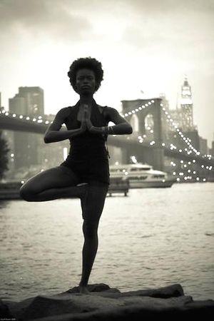 1970's: Iconic yoga tree pose, Brooklyn Bridge New York (vintage yoga photo)…