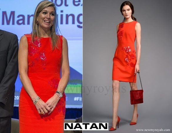 7 October 2016 - Queen Maxima at 2016 annual meetings of the World Bank Group and International Monetary Fund in Washington - dress by Natan
