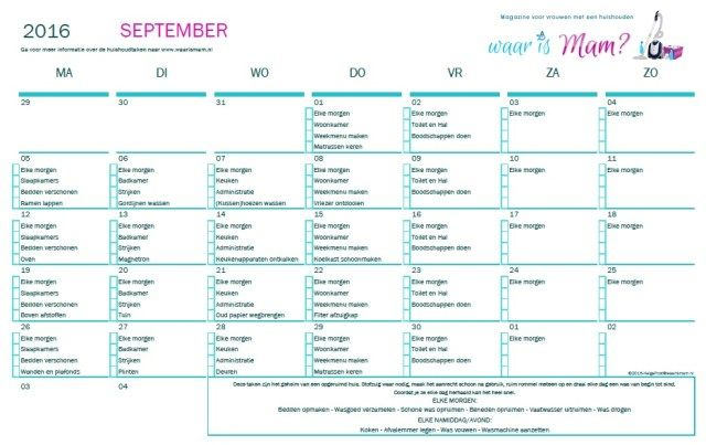 Huishoudschema september 2016