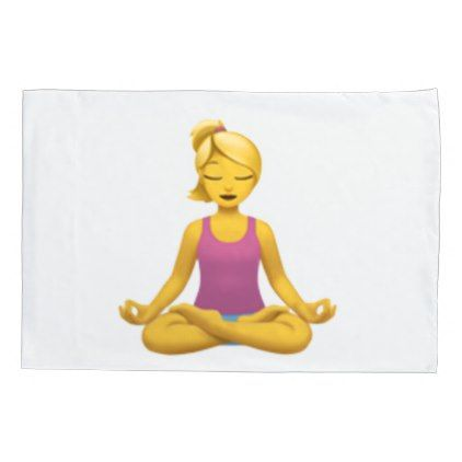 #Woman in Lotus Position - Emoji Pillow Case - #Pillowcases #Pillowcase #Home #Bed #Bedding #Living