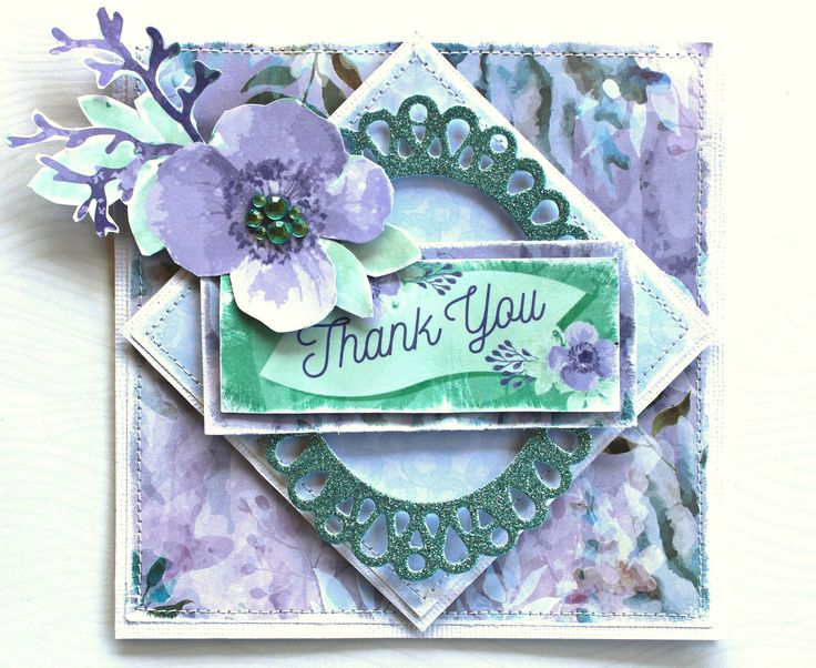 Kaisercraft Mermaid Tails & Glitter Cardstock - Thank You Card