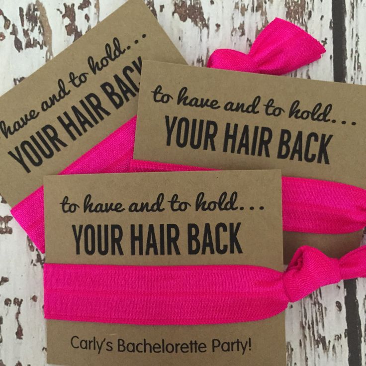 Bachelorette Hair Tie Favors // To Have And To Hold Your Hair Back Hot Pink