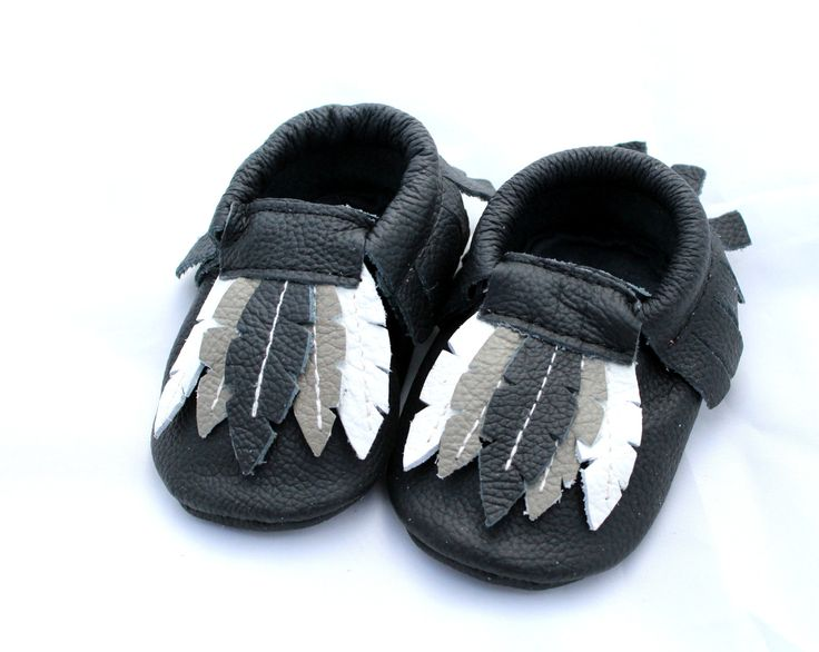 Baby Genuine Leather Feather Moccasins