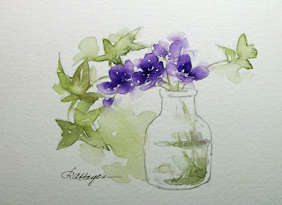 violetsWatercolor Painting, Jars Watercolors, Art Watercolors, Purple Flowers, Glasses Jars, Painting Ideas, Watercolors Flower, Roseanne Hay, Watercolors Painting