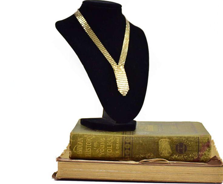 Vintage Goldtone Mesh, Mesh Necklace, Vintage Necklace, 1970 Necklace, Gift For Her, Mothers Day Gift, Disco Necklace #vintage #vintagejewelry