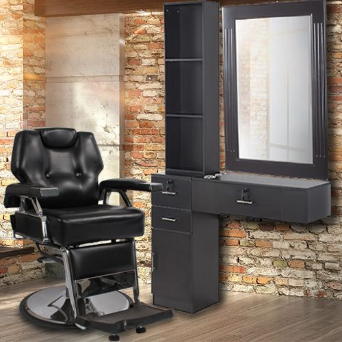 Economic Barber Equipment Package | Includes Keller Economic Chair and Styling station featuring the Post Salon Mirror.