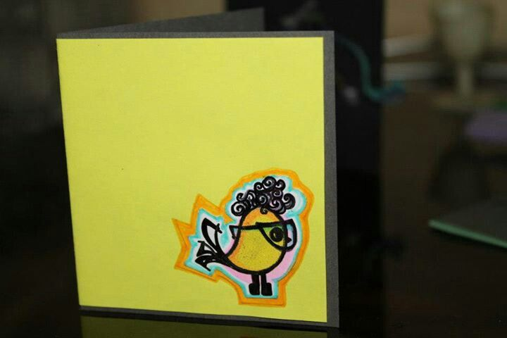 Funky Birdy greeting! Miniature cards by Deepti Thakur