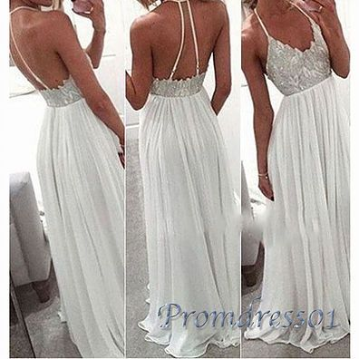 2016 beautiful backless white lace   chiffon prom dress with straps, ball gown, prom dresses for teens #coniefox #2016prom