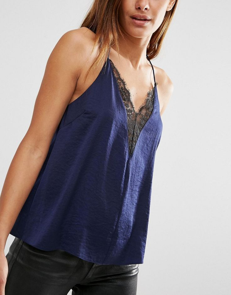 Image 3 of ASOS Plunge Neck Lace Insert Cami Top