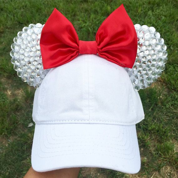 Handmade Disney inspired Diamonds Rhinestone Sparkly Minnie Mickey Mouse ears / Hat   Rhinestones are only in front of ears.  - Comfy padded ears.  - This hat is recommended for older kids. Ages around 10 - adult. You can Adjust Size of cap, smaller or bigger.  -- All my ears are handmade by me, no two items are exactly identical. There will be slight Imperfections. -- If there is something you would like me to change on the ears please feel free to message me for any questions or requests…