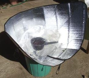 Kathy Dahl-Bredine developed the Windshield Shade Solar Cooker while experimenting with various designs of cookers to introduce in the indigenous communities where Kathy lives and works in southern Mexico. She hit upon an utterly simple way to make an instant portable solar oven by taking an automobile windshield shade and turning it into a solar funnel. Think of the green implications!  And it would be great for camping and hiking trips. Can boil water or cook meat to 200 F.  Sweet!