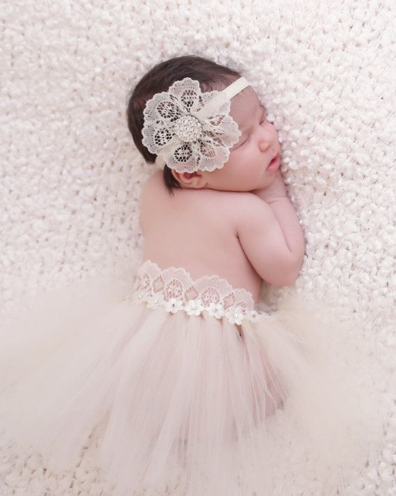 Ivory Newborn tutu with matching  lace headband made with Swarovski crystals, great for photo prop on Etsy, $55.95