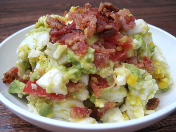Bacon, Egg, Avocado, Tomato Salad with Swiss Cheese