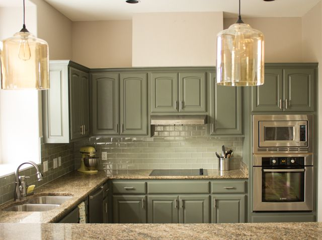 Our exciting kitchen makeover before and after green for Painting kitchen cabinets