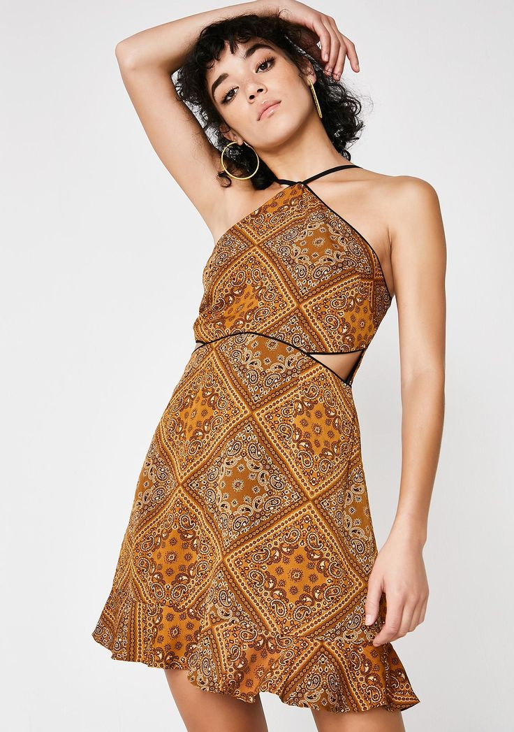 Lira Clothing Bella Dress got ya lookin' so gorgeous. This golden brown dress has a high neckline, cut-outs on the sides, and a ruffled hem.