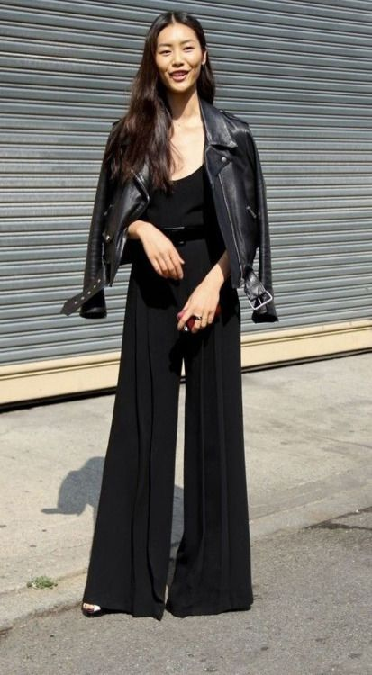 Black palazzo pants jumpsuit with leather jacket