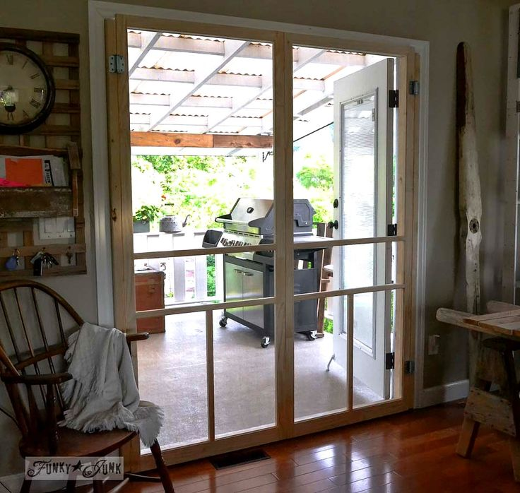 Here's a cheap & easy way to screen French doors.