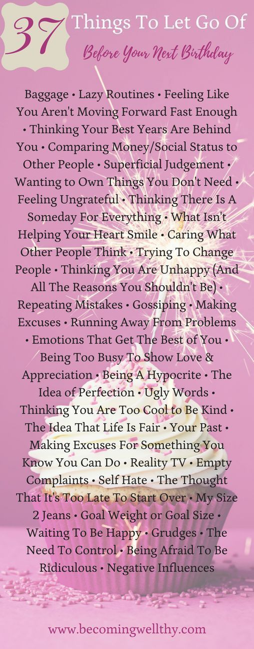 How To Be Authentic ~ 37 Things To Let Go Of Before Your Next Birthday. Whether it's self hate, hypocrisy, control, wild emotions or your size 2 jeans, here is an epic list of things to just let go of. via @becomingwellthy