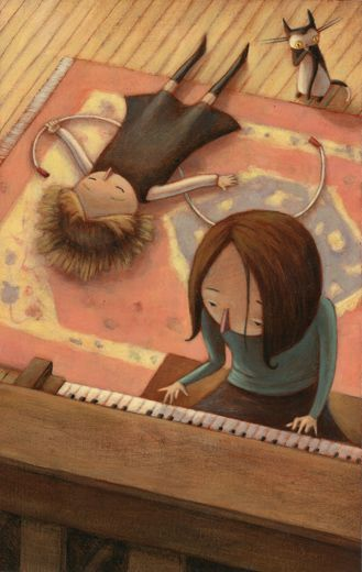 Kelly Murphy Illustration | Bandita girl playing piano while friends listen