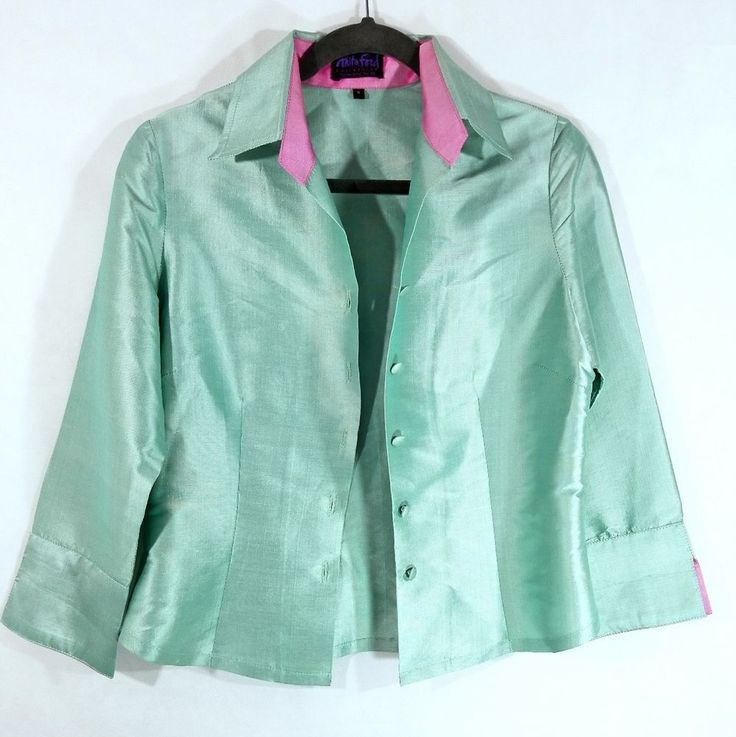 Anita Ford Collections Thai Silk Mint Green Shirt Jacket Size Small #AnitaFord #CollarBlouse