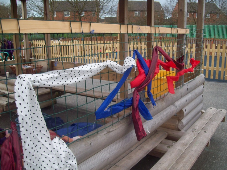 Children practising threading and weaving through garden mesh using strips of fabric. They enjoyed using it to make 2D shapes too! Could make letter and number shapes.