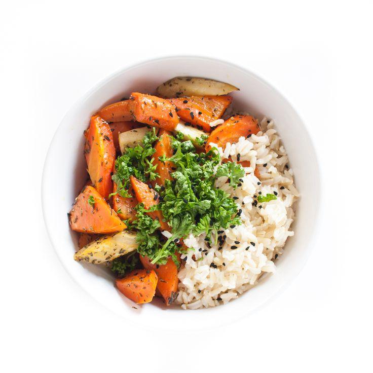 Geröstete Karotten mit Kurkuma-Reis (KptnCook)
