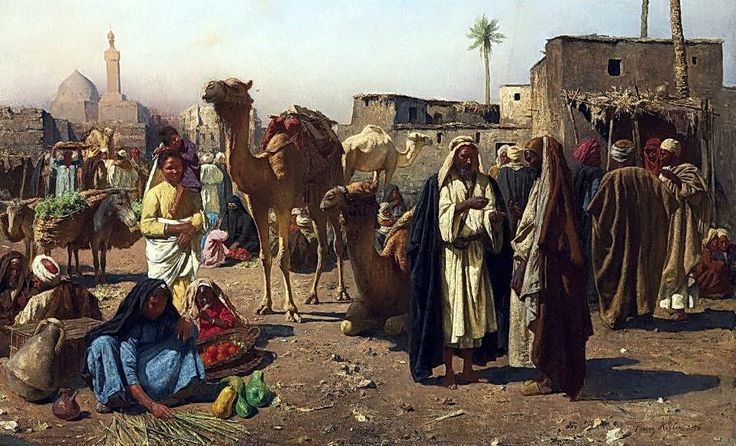 An Arab market scene , Cairo 1896  By Franz Xaver Kosler (Austrian, 1864-1905) Oil on canvas , 62.9 x 100.4cm